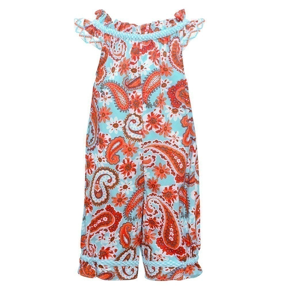9ec1d15d55c3 Shop Bonnie Jean Baby Girls Aqua Floral Print Sleeveless Romper - Free  Shipping On Orders Over  45 - Overstock - 25581367