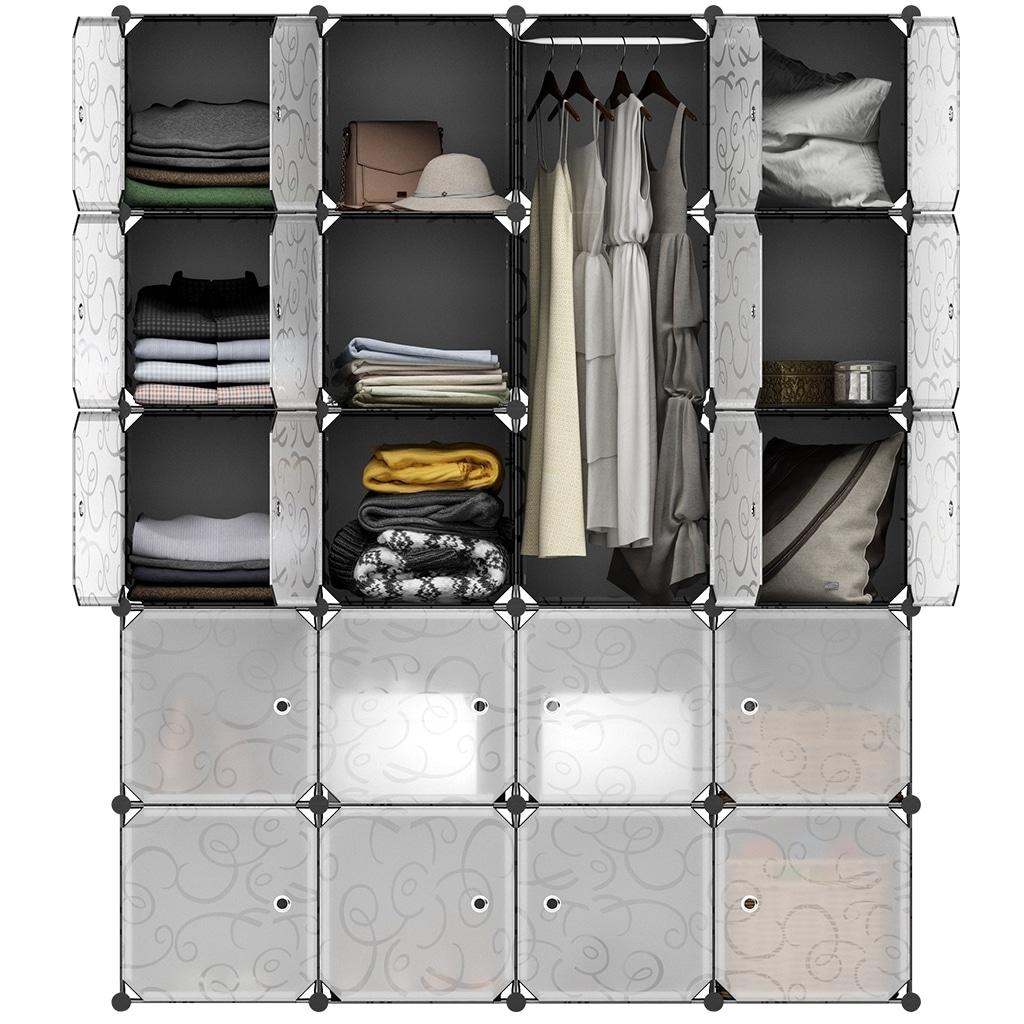 Langria 20 Storage Cube Organizer Wardrobe Modular Closet Plastic Cabinet Black And White