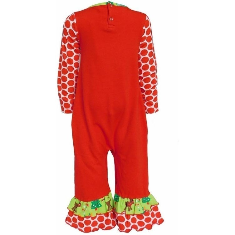 dc055f5edd68 Shop AnnLoren Baby Girls Red Reindeer Polka Dot Print Christmas Romper -  Free Shipping On Orders Over $45 - Overstock - 23081037