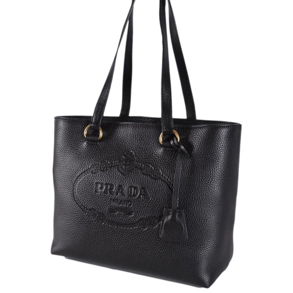 92e90440ab0527 Shop Prada 1BG100 Black Leather Vitello Daino Embossed Logo Shopper Purse  Tote - Free Shipping Today - Overstock - 26975682