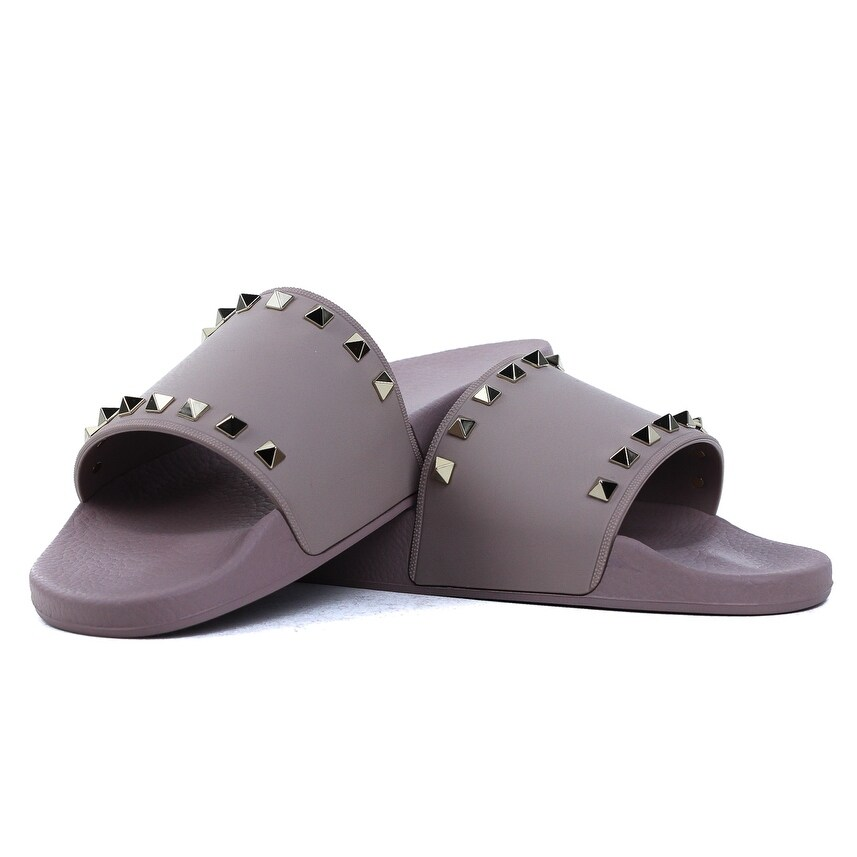 b06958e47a39 Shop Valentino PVC Taupe Rockstud Pool Sandals Slides - Free Shipping Today  - Overstock - 22439381