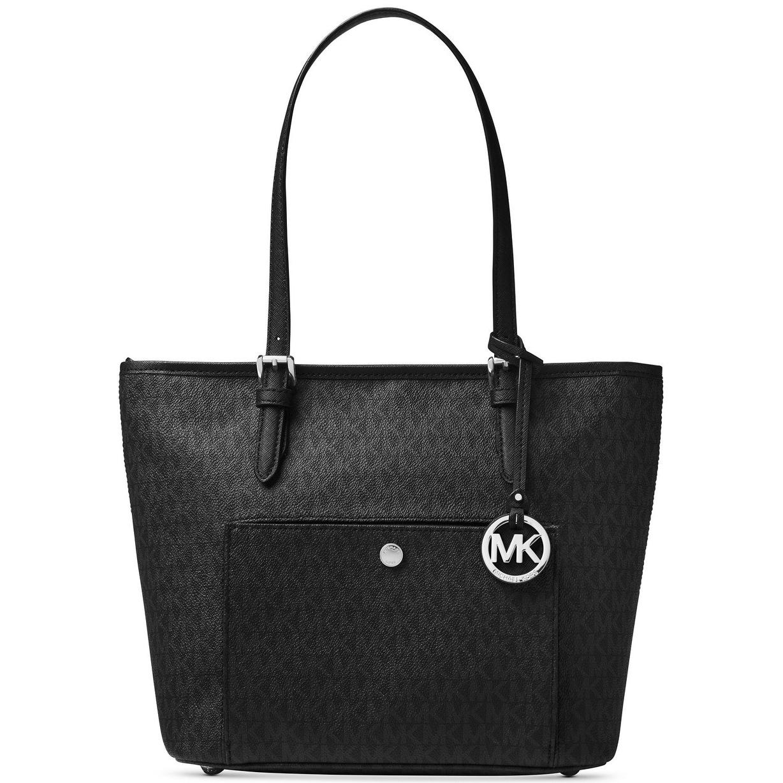 91a01887ebee MICHAEL Michael Kors Jet Set Medium Signature Snap Pocket Tote Bag Black