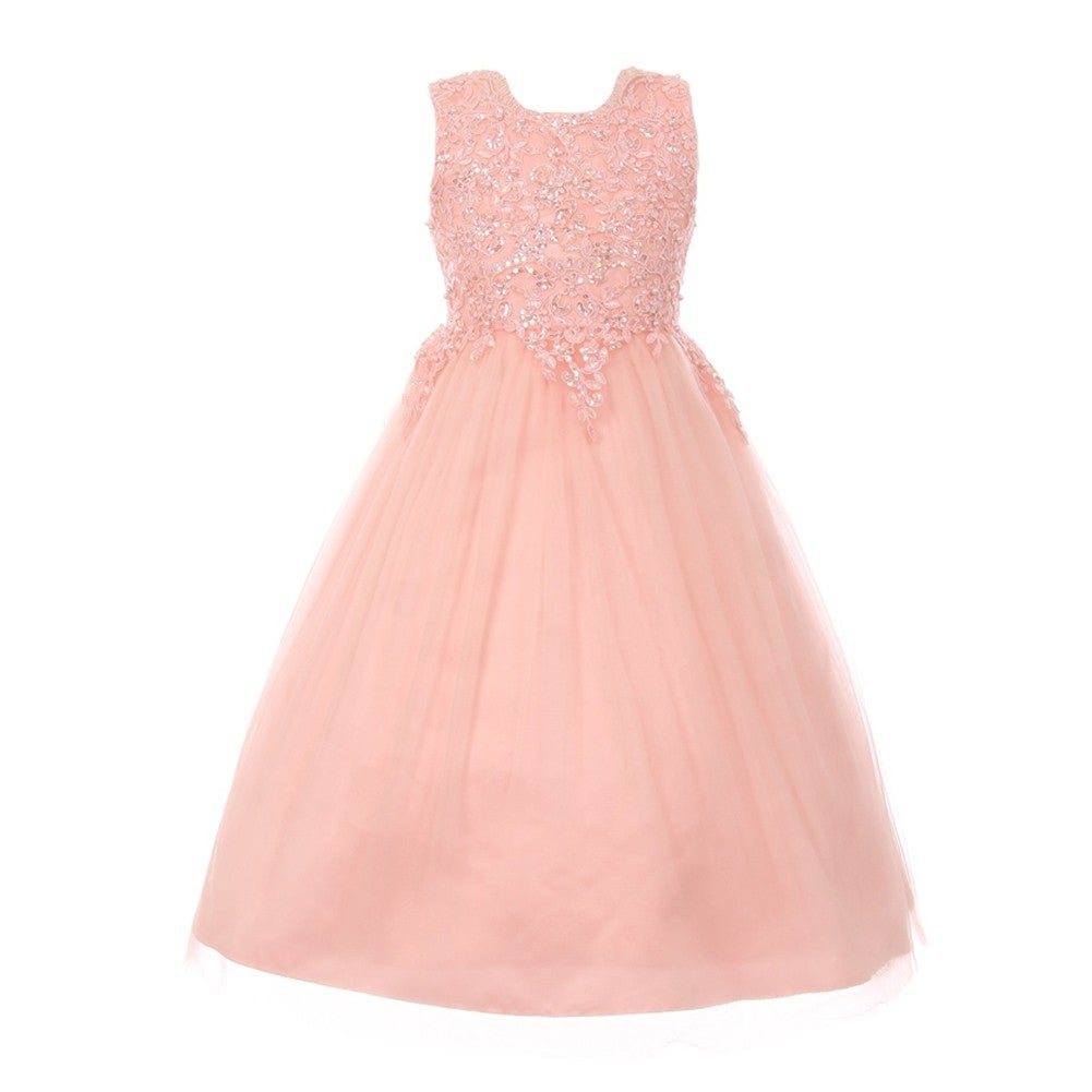Girls Blush Pink Pearl Sequin Tulle Satin Junior Bridesmaid Dress ...