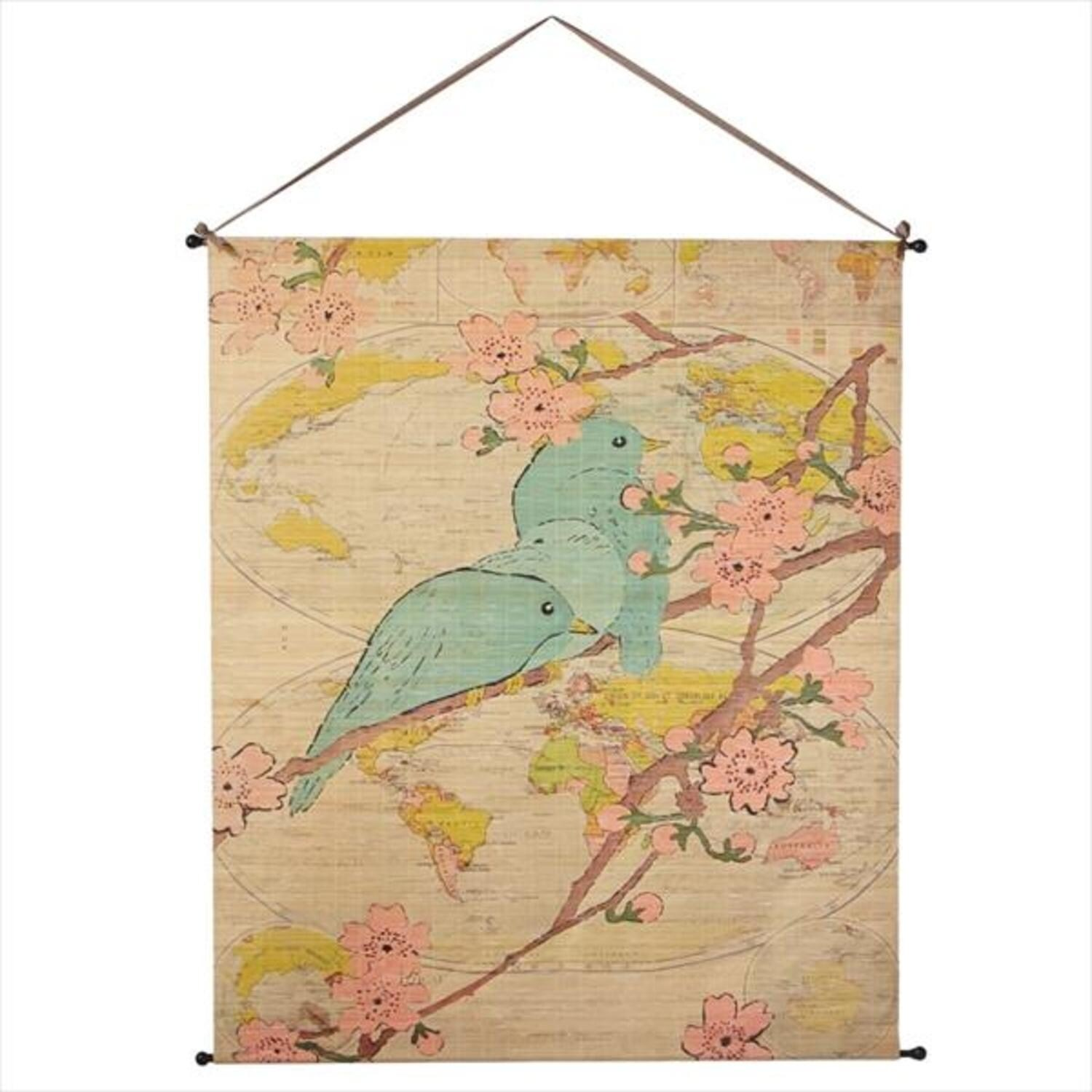 Pack of 2 Pastel Blue and Pink Bamboo Birds with Globe Background ...