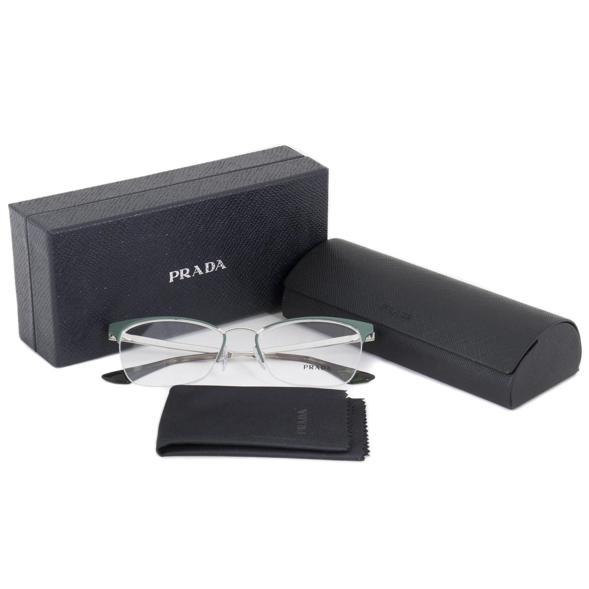 e683eb3204b ... ireland shop prada pr65qv uei1o1 cat eye green silver eyeglass frames  free shipping today overstock 19622876