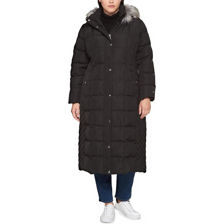 88c58f93f50 Tommy Hilfiger Plus Size Faux Fur Trimmed Down Long Puffer Coat Black - 3x