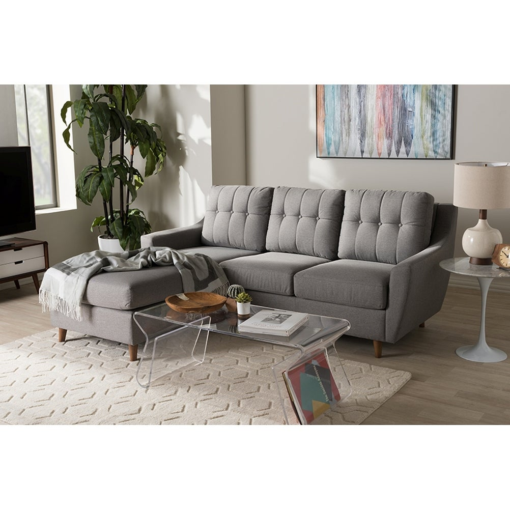 Mckenzie 2pcs grey fabric upholstered button tufted sectional sofa