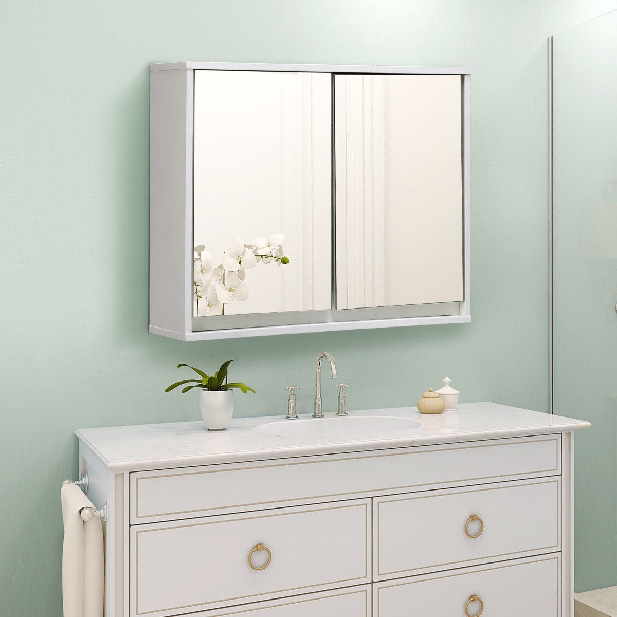 Costway Wall Mounted Bathroom Storage Cabinet Double Mirror Door Organizer Shelf White