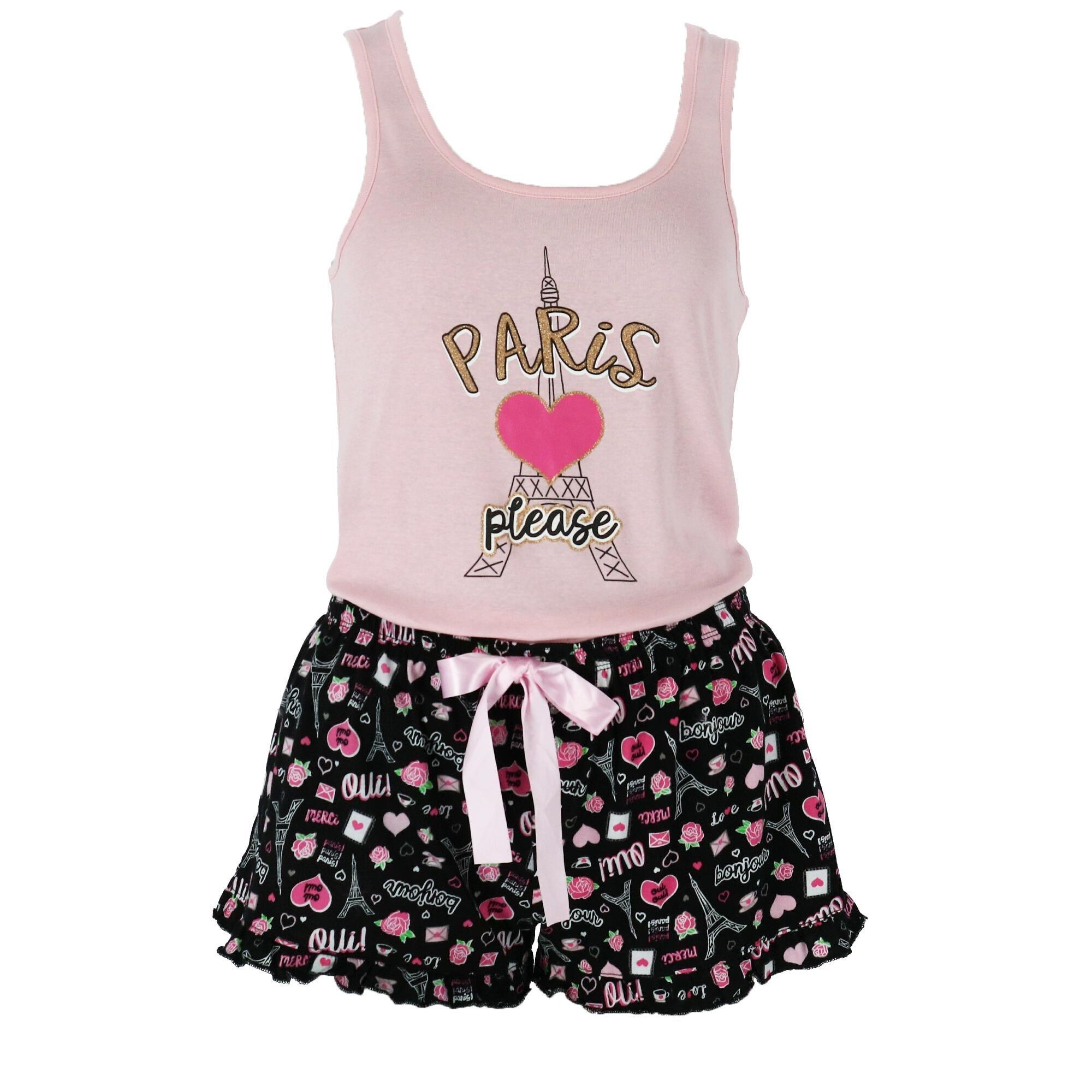 2e866f49446 LaLa Sleepwear Juniors Ruffle Short and Tank Pajama Set