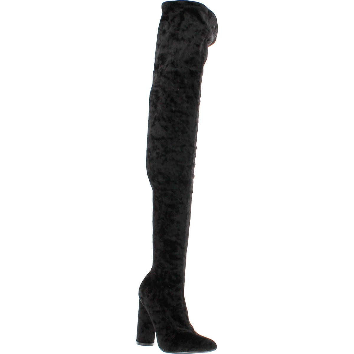 75a80752e7f Shop Cape Robbin Paw-27 Crushed Velvet Stretchy Pointy Toe Thigh High Over  Knee Block Heel Boot - Black - Free Shipping On Orders Over  45 - Overstock  - ...