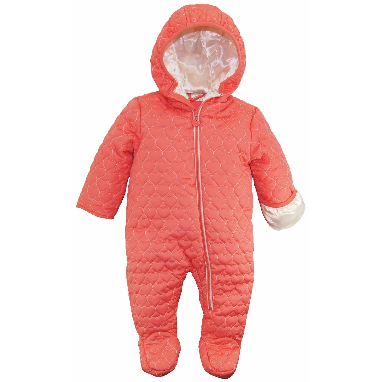c2b63ba64798 Shop Wippette Baby Girls Footed Heart Quilted Jacket Winter Snowsuit ...