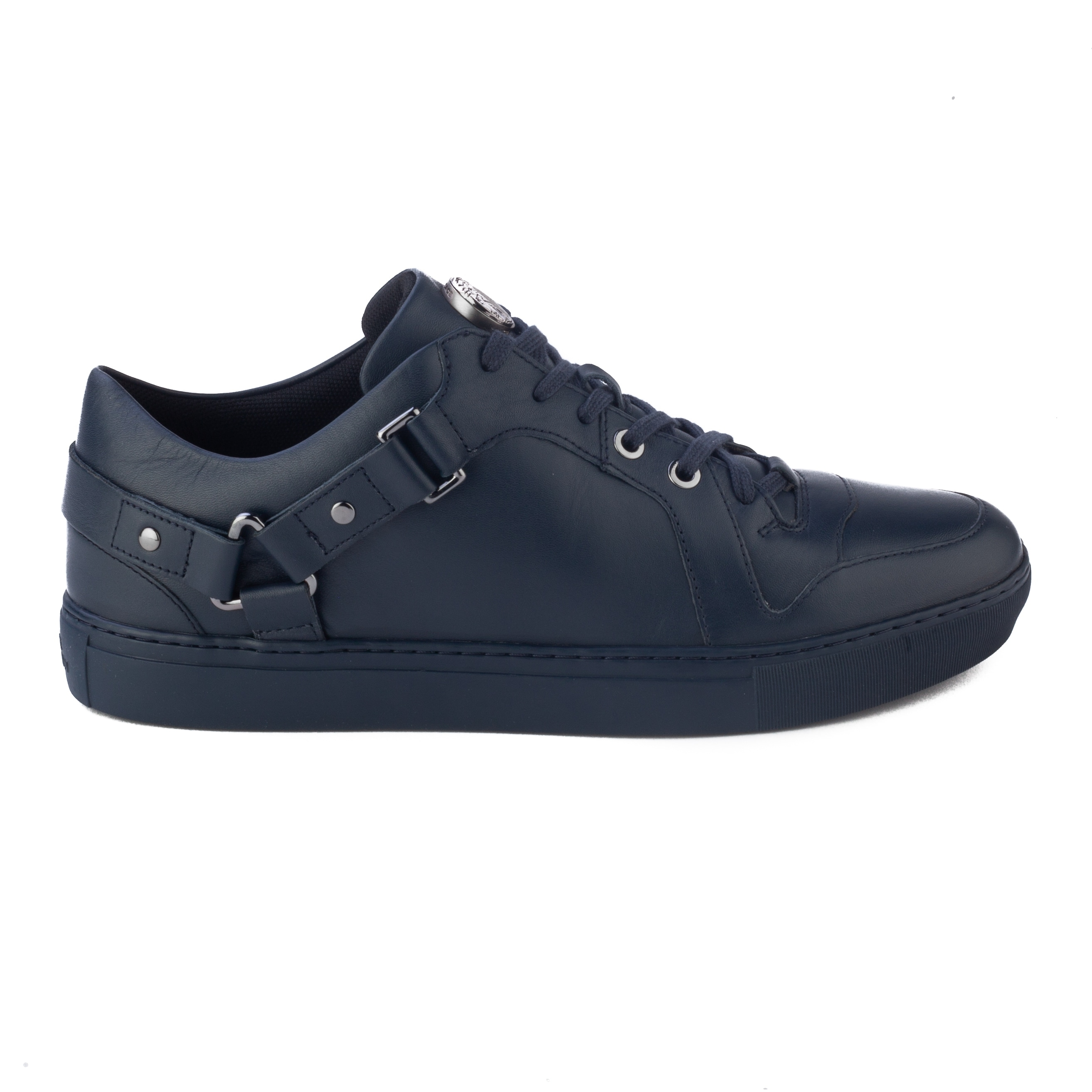 290f9c22165b Shop Versace Collection Men s Leather Low Top Medusa Sneaker Shoes Navy  Blue - Free Shipping Today - Overstock - 23005019