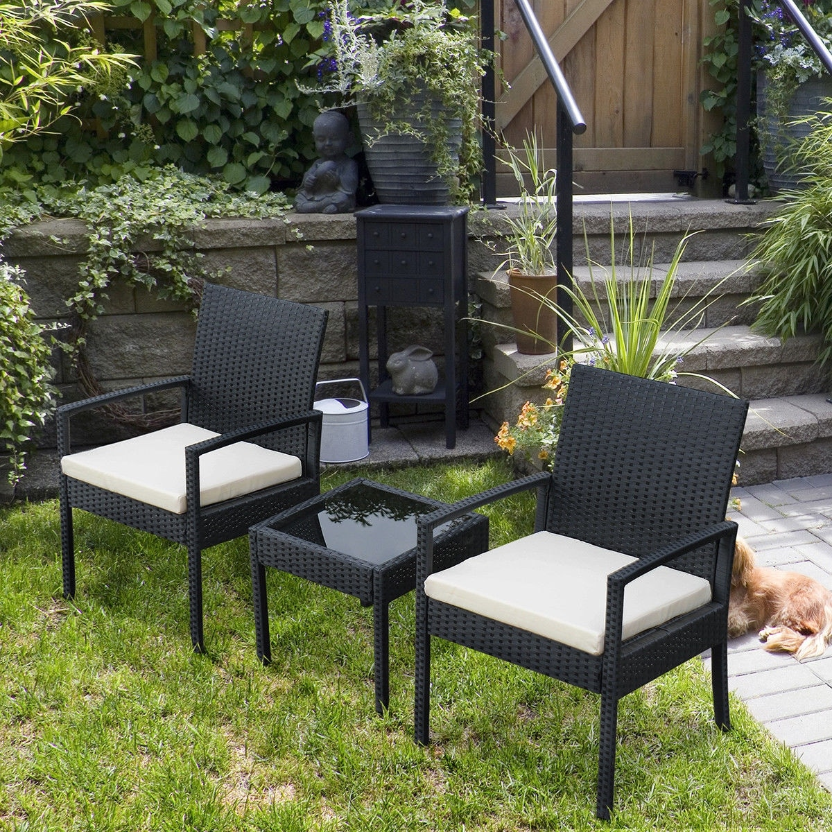 Shop Costway 3 PS Outdoor Rattan Patio Furniture Set Backyard Garden  Furniture Seat Cushioned - Black - On Sale - Free Shipping Today -  Overstock.com - ... - Shop Costway 3 PS Outdoor Rattan Patio Furniture Set Backyard Garden