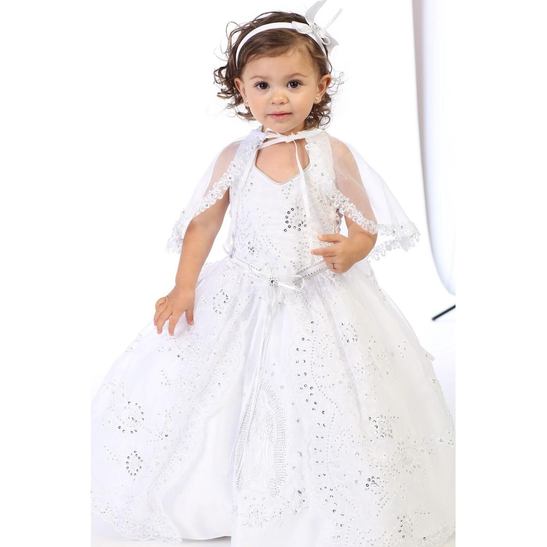 2417dc1eddc20 Angels Garment Baby Girls White Satin Halter Organza Baptism Dress