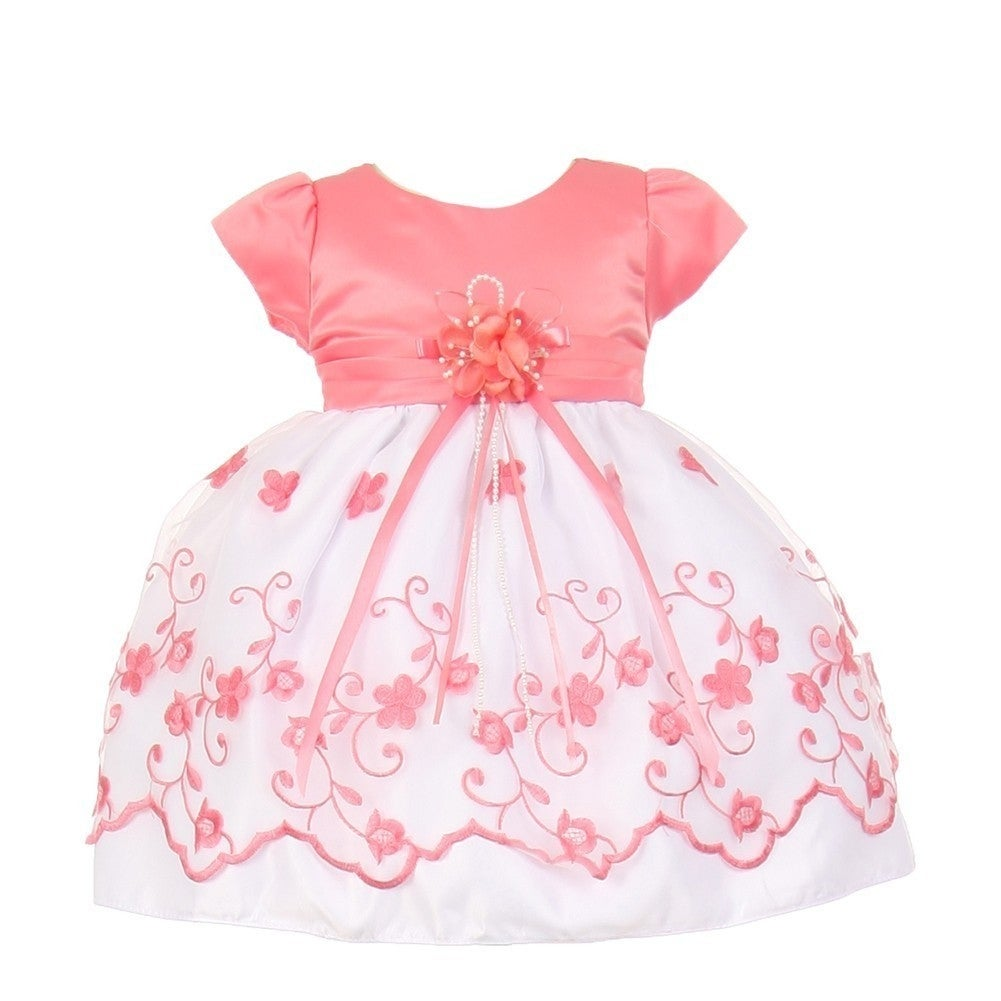 d221d26010e Shop Little Girls Coral Floral Embroidery Overlay Special Occasion Bonnet Dress  3-4T - Free Shipping On Orders Over  45 - Overstock.com - 19292615