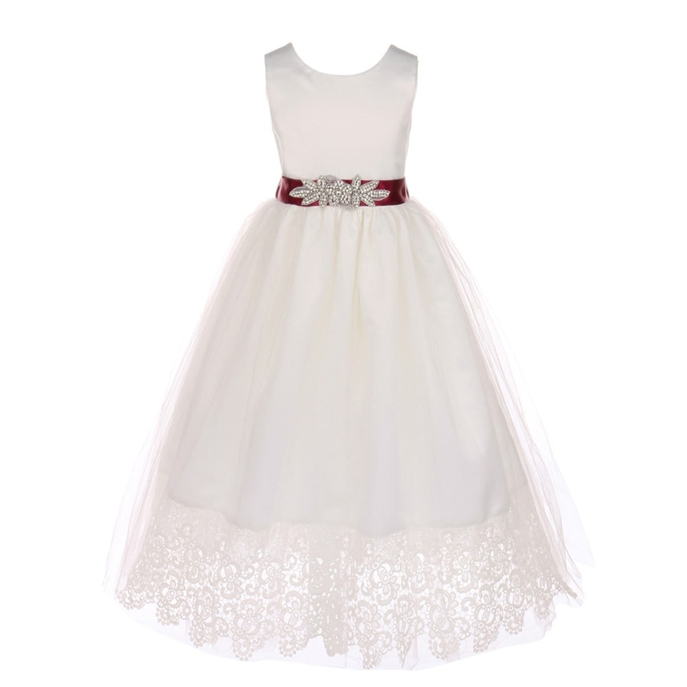 Shop Little Girls Off White Burgundy Bridal Satin Scallop Lace
