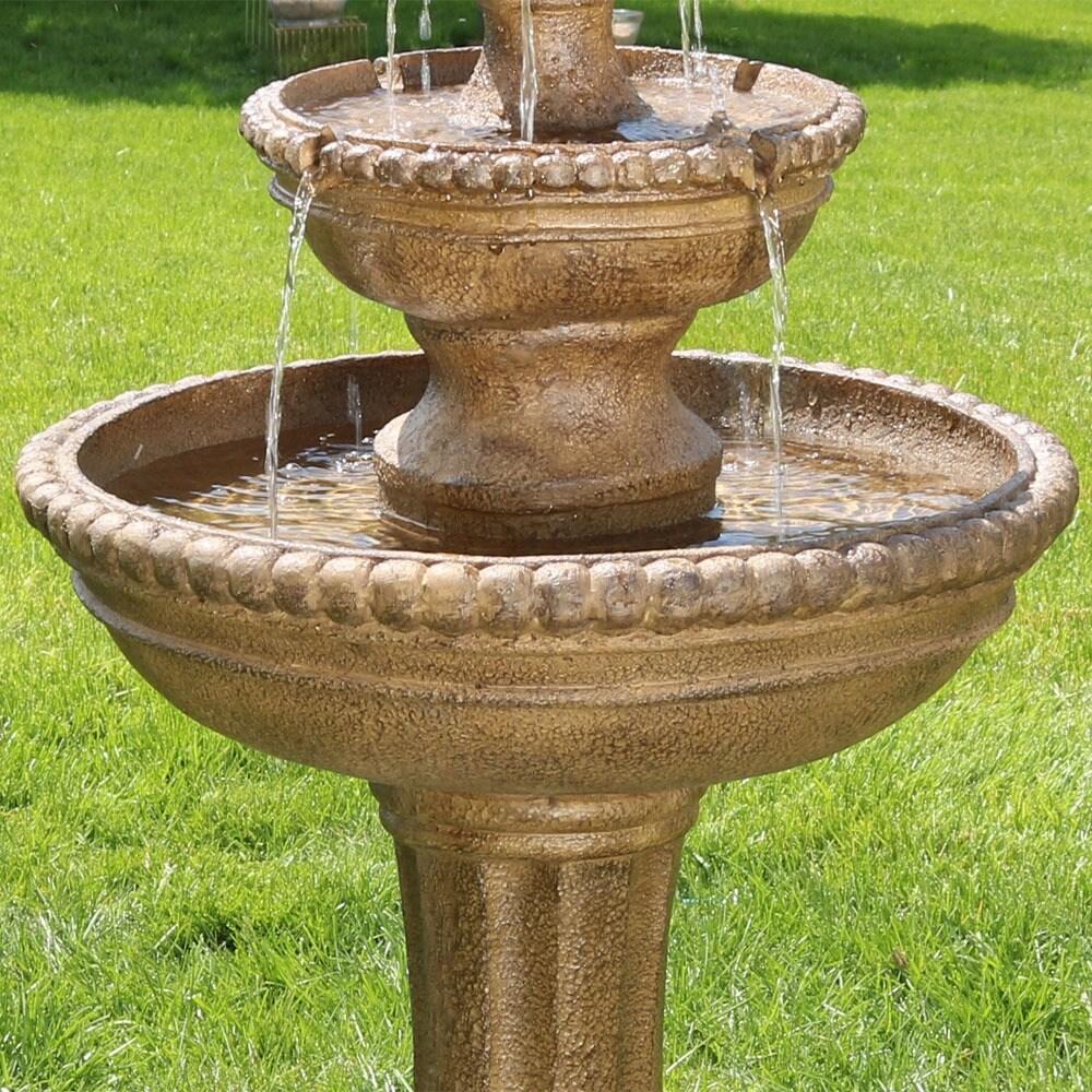 Shop Sunnydaze Outdoor Roman Pineapple 2 Tier Garden Water Fountain ...