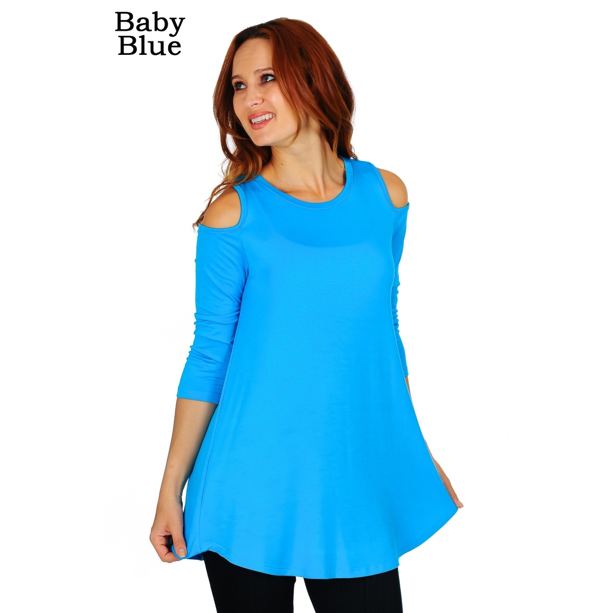 239ac82022d52 Shop Simply Ravishing Women s Cold Shoulder Flare 3 4 Sleeve Blouse Top  Tunic Shirt (Size  S-5X) - On Sale - Free Shipping On Orders Over  45 -  Overstock - ...