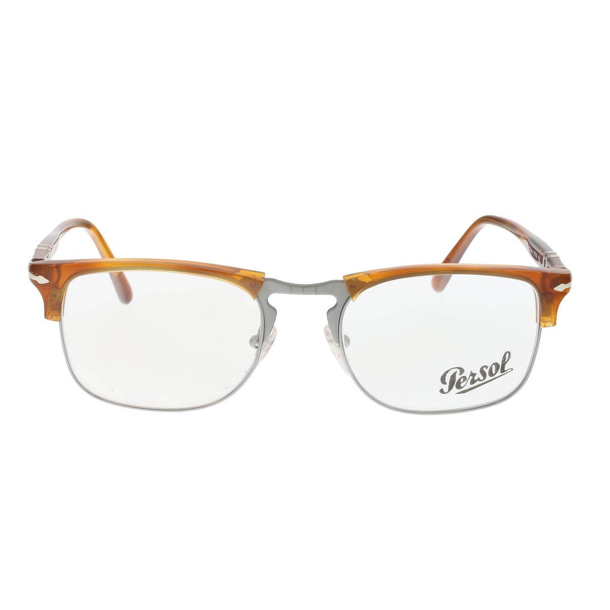 Shop Persol PO8359V 96 Terra di Siena Amber/Silver Square Optical ...