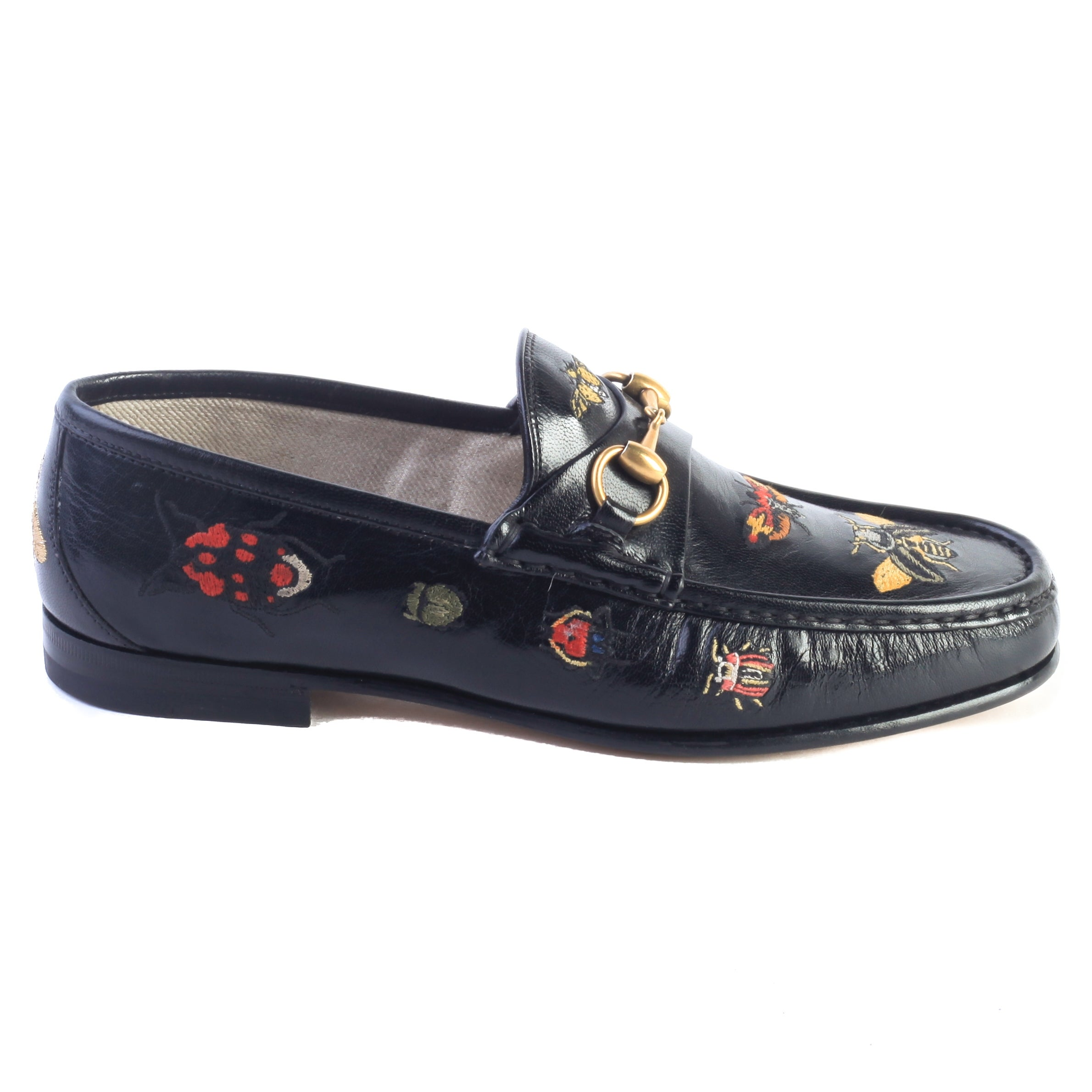 24cde438c3b Shop Gucci Men s Embroidered Horsebit Leather Loafer Black Shoes - Free  Shipping Today - Overstock - 23533822