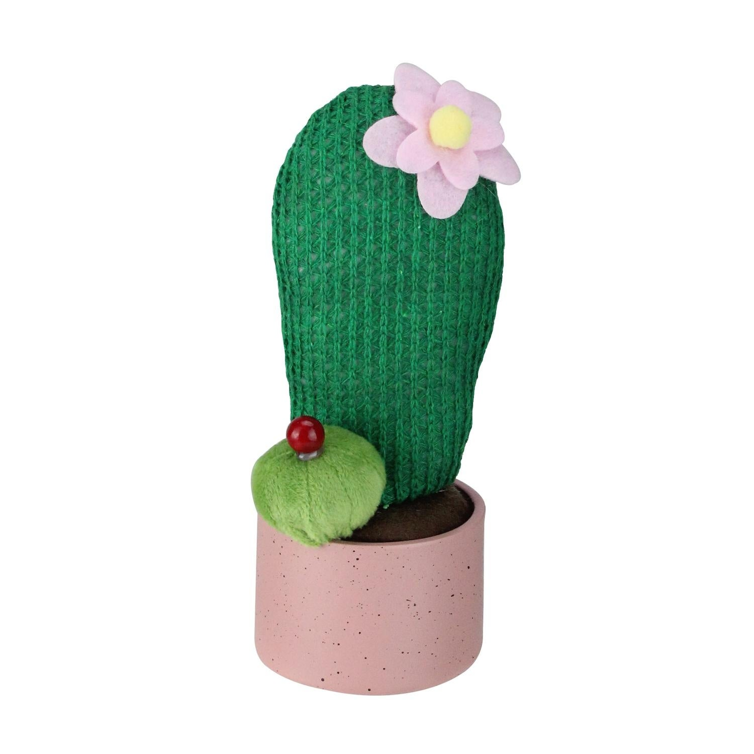 Shop 75 Artificial Forest Green Plush Cactus In Pink Pot