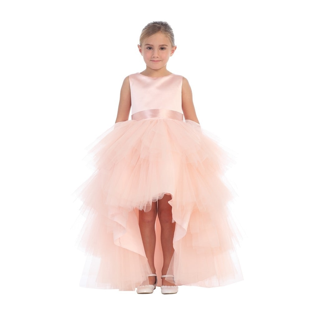 Shop Girls Blush Hi-Low Multi Level Ruffle Tutu Junior Bridesmaid ...