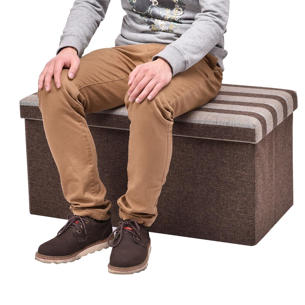 Shop Costway Folding Stripe Storage Ottoman Seat Stool Bench Storage ...