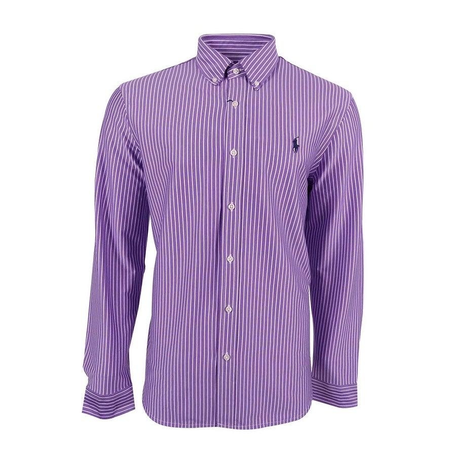 Shop Polo Ralph Lauren Mens Striped Knit Dress Shirt Purple