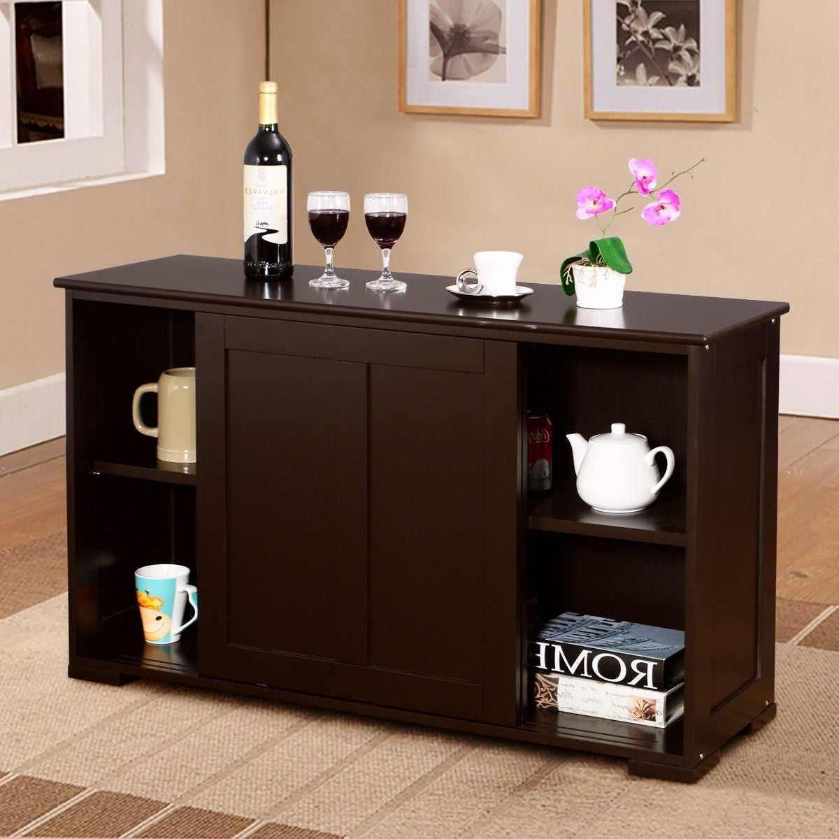 Shop Costway Kitchen Storage Cabinet Sideboard Buffet Cupboard Wood