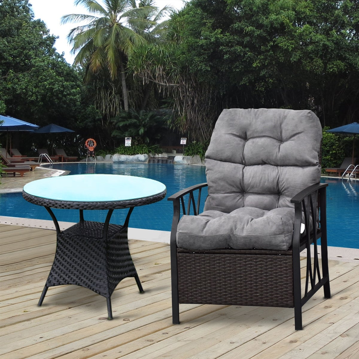 Costway 44 high back chair cushiontufted pillow indoor outdoor swing glider seat gray