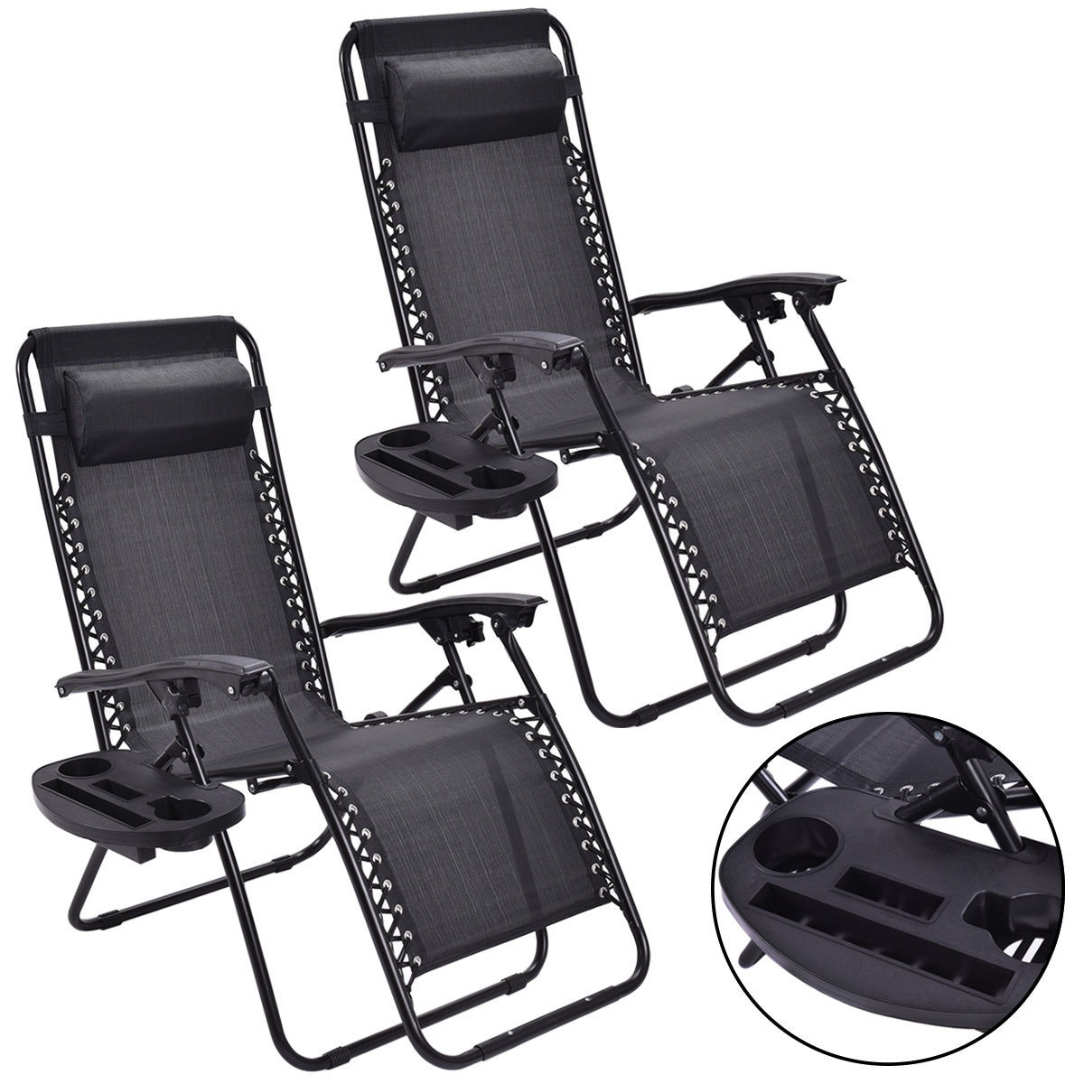 Shop Costway 2PC Zero Gravity Chairs Lounge Patio Folding Recliner Outdoor  Black W/Cup Holder   Free Shipping Today   Overstock.com   16719555