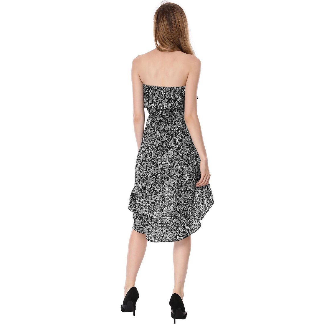275200d2fa Shop Allegra K Ladies Allover Flower Flounce Strapless Dress Black - Free  Shipping On Orders Over  45 - Overstock - 23579739