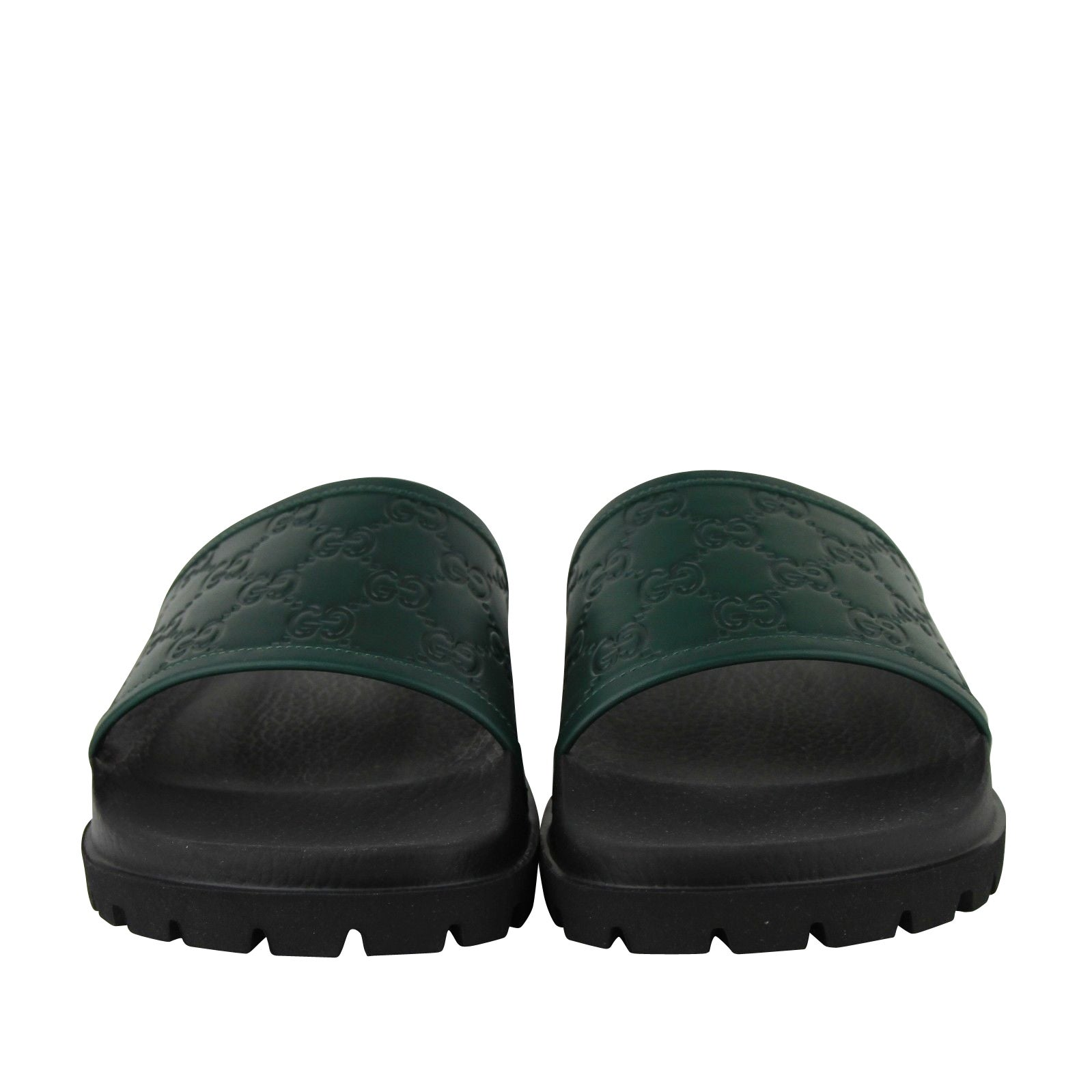 b97d92061 Shop Gucci Guccissima Pattern Green / Black Leather Sandals 431070 3020 - Free  Shipping Today - Overstock - 28031687