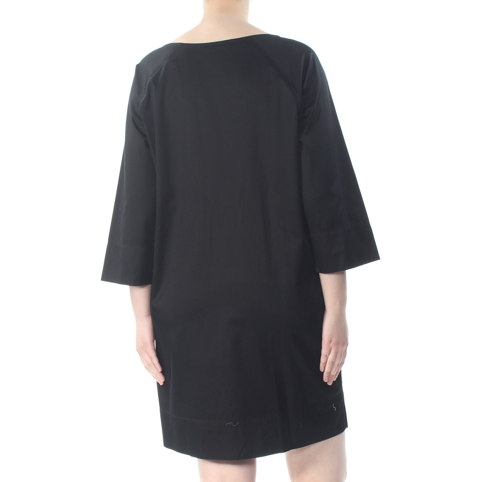 RALPH LAUREN Womens Black Tie Laced Up 3/4 Sleeve Mini Shift Evening Dress  Plus Size: 2X