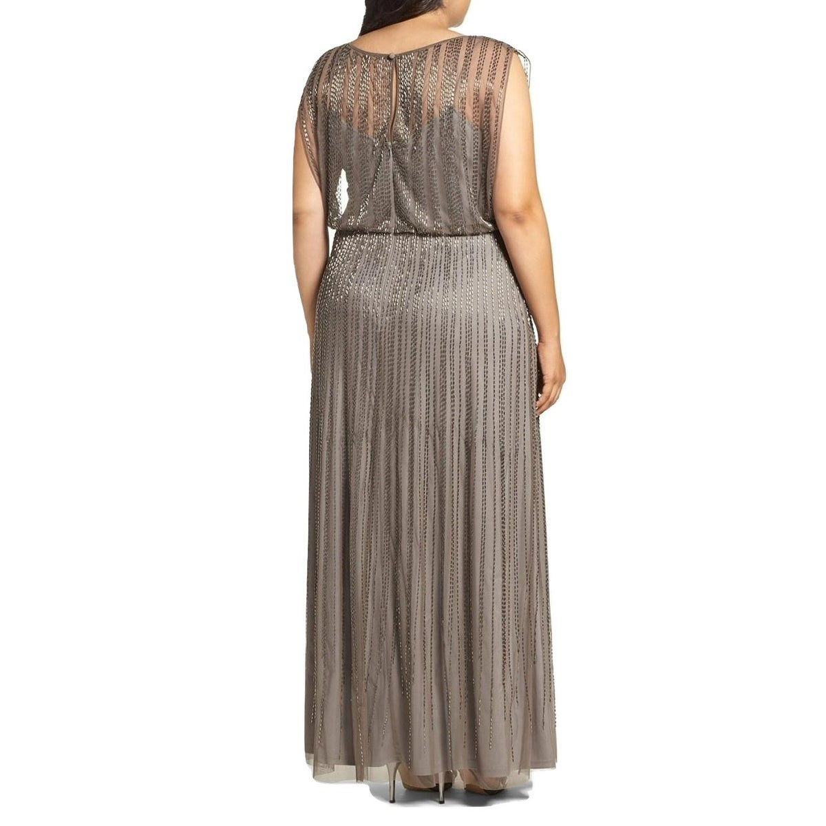 Shop Adrianna Papell Plus Size Beaded Illusion Blouson Evening Gown ...