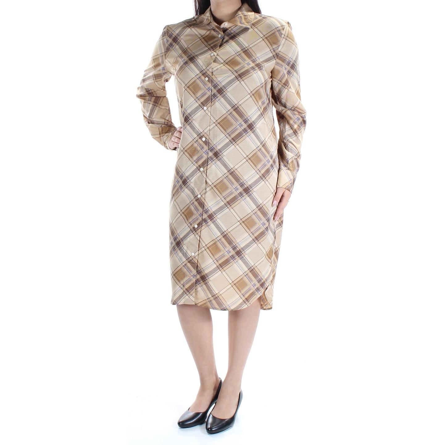 Shop Ralph Lauren Womens Beige Plaid Cuffed Collared Below The Knee