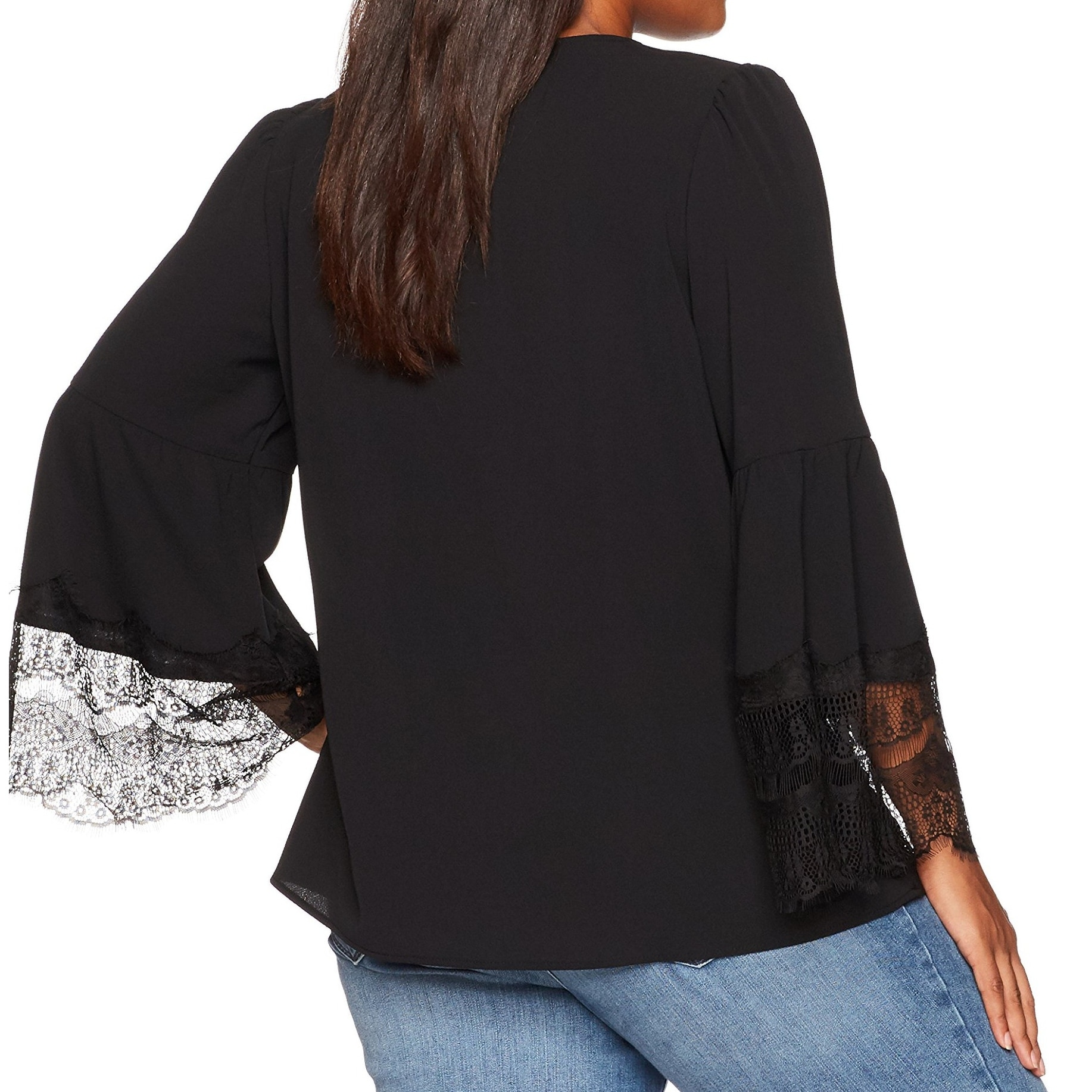 d81f14cf229988 Shop Nine West Black Women's Size 2X Plus Lace Bell Sleeve V-Neck Blouse -  On Sale - Free Shipping On Orders Over $45 - Overstock - 27194958