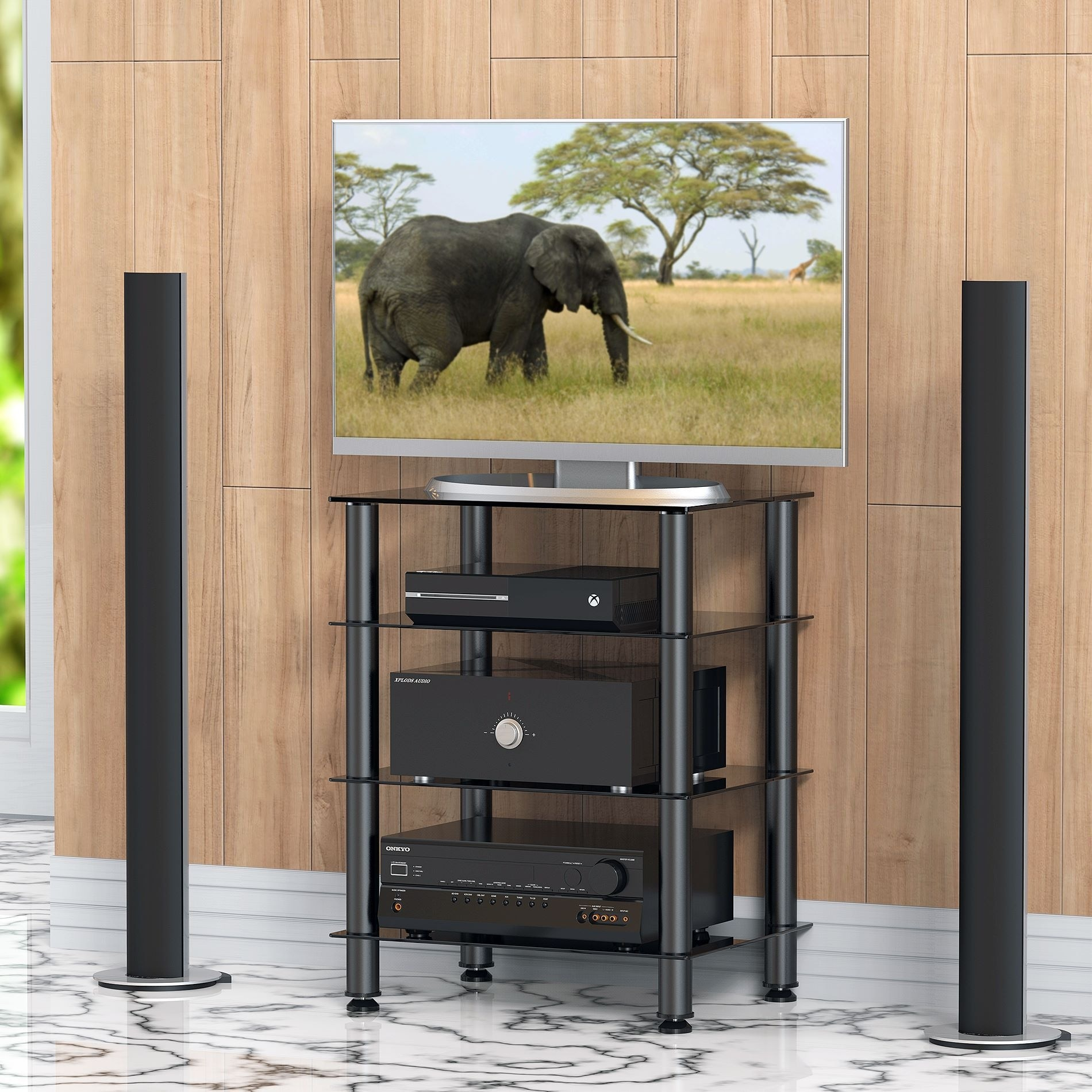 audio stylish home cabinet reisa image modern glass of component by video decor