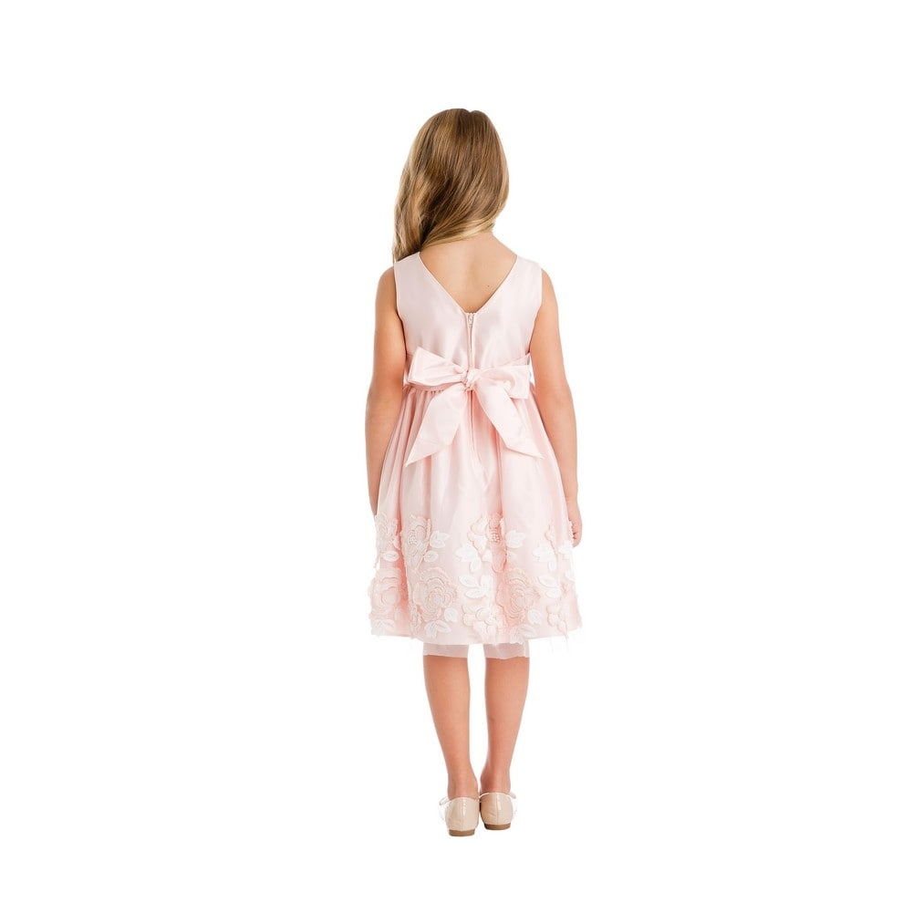1a29ec0f56 Shop Little Girls Petal Pink Satin Lush Rose Patch Mesh Easter Dress - Free  Shipping On Orders Over  45 - Overstock - 19983052