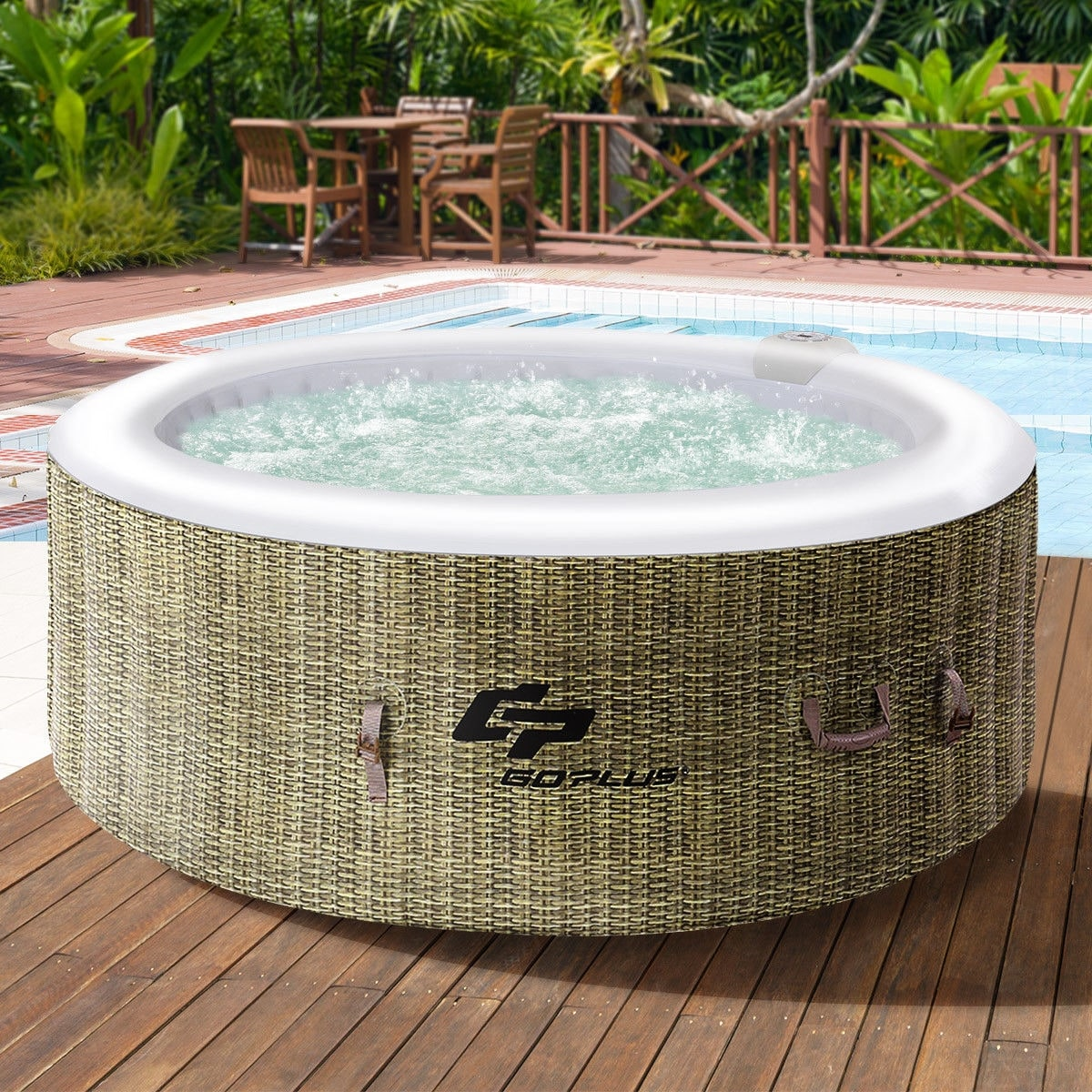 Shop Goplus 4 Person Inflatable Hot Tub Outdoor Jets Portable Heated ...