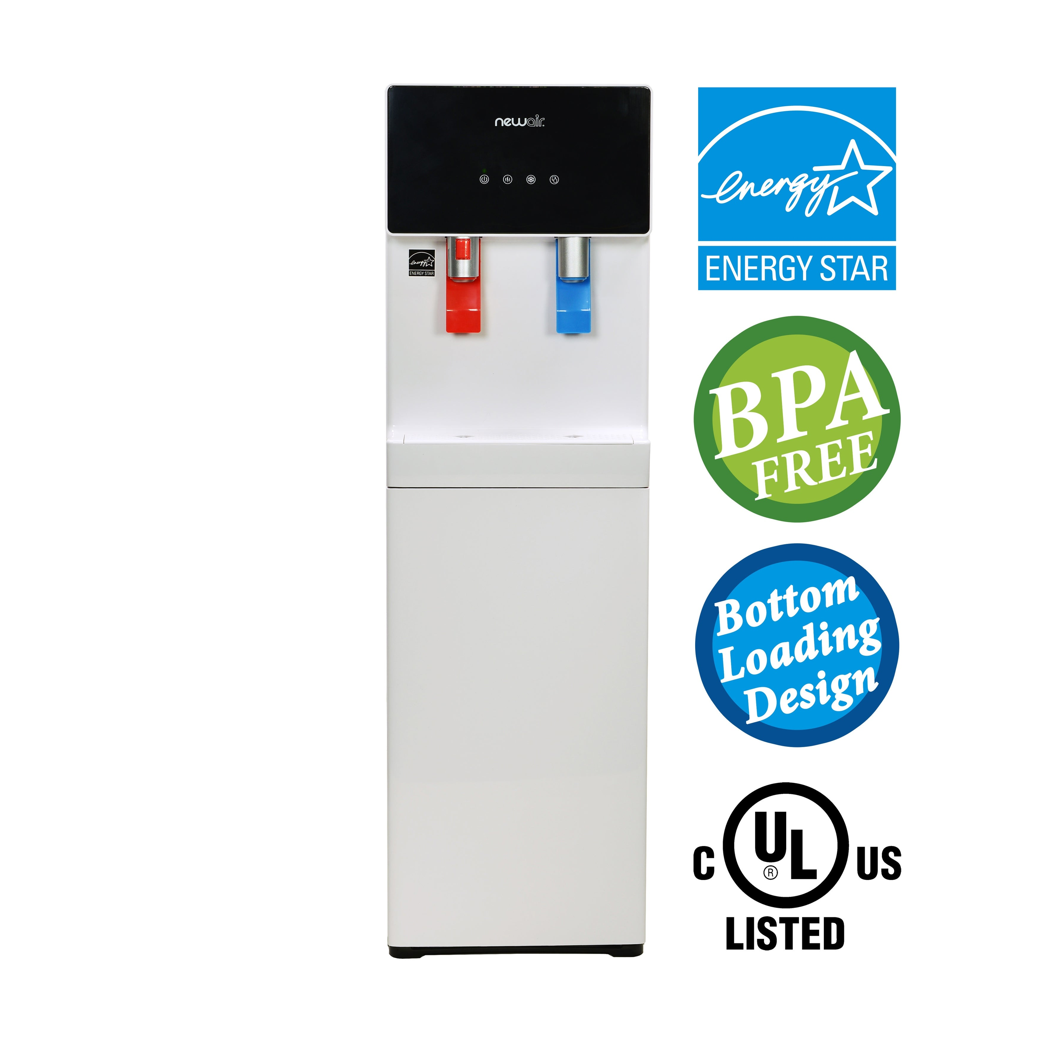 NewAir Pure Spring WAT40W BPA Free Hot/Cold Bottom Loading Water Dispenser - White -