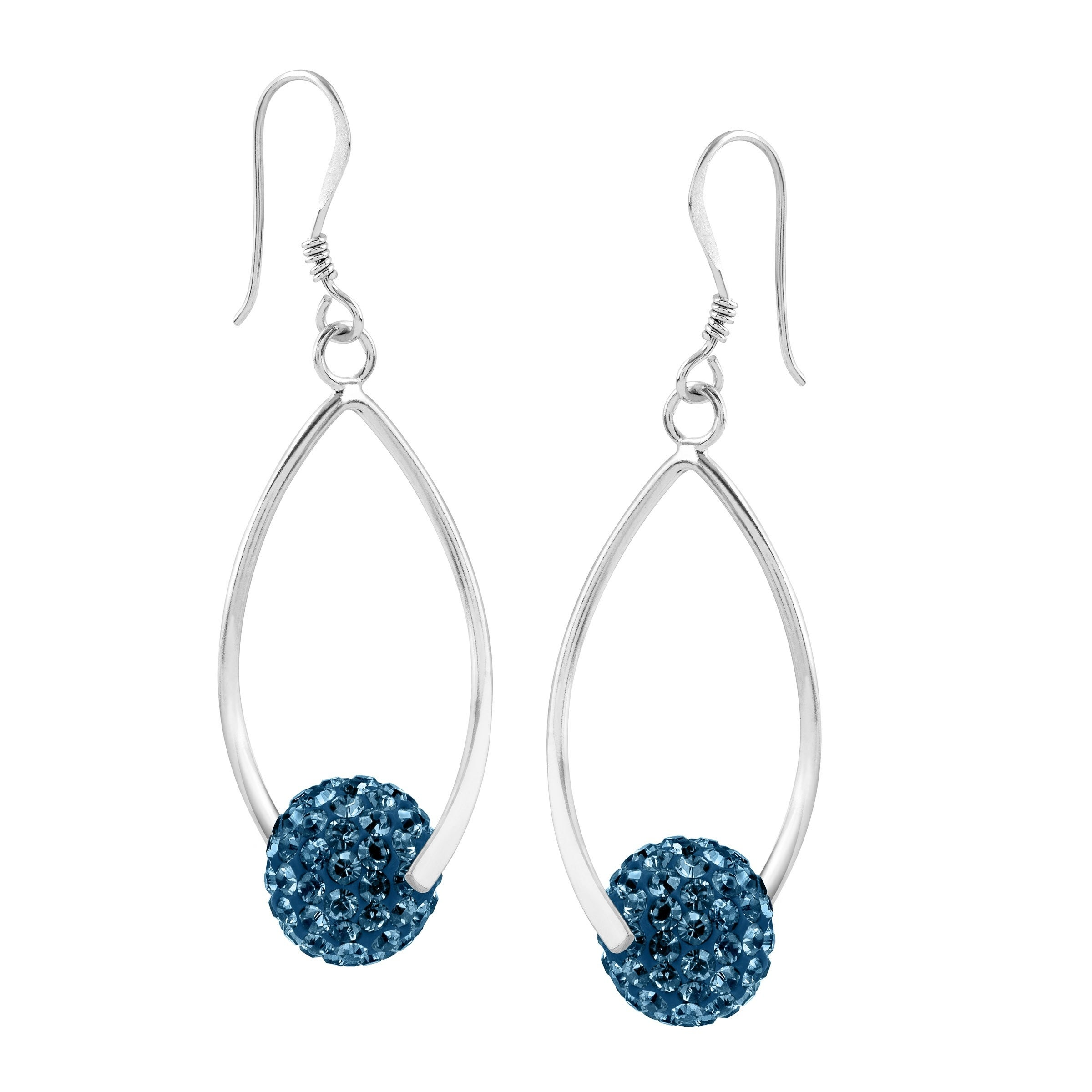 55debf22c Crystaluxe Twisted Ball Drop Earrings with Swarovski Crystals in Sterling  Silver