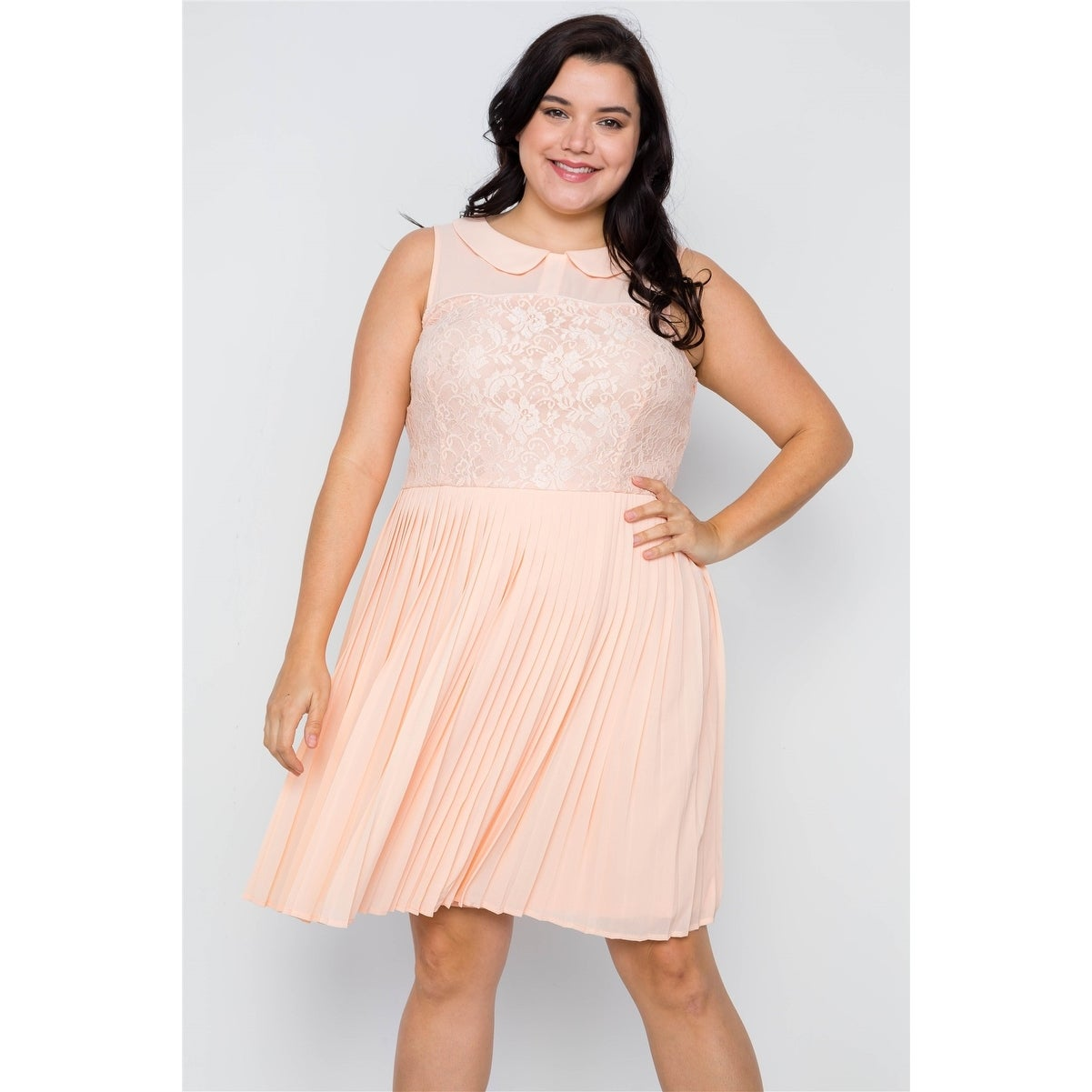 cute cheap street price shop for official Plus Size Peach Pleated Chiffon Lace Sleeveless Dress