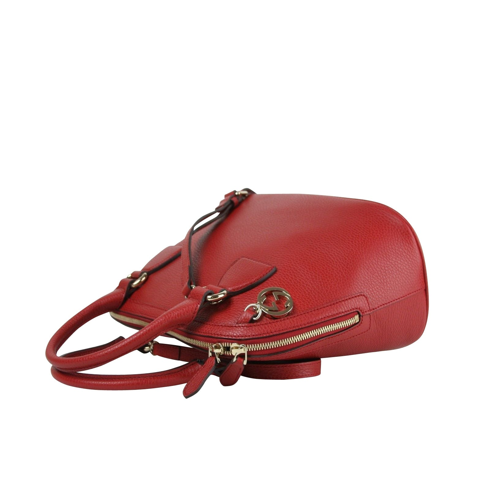 26f59e2063a2 Shop Gucci GG Charm Red Leather Medium Convertible Dome Bag 449662 6420 -  Free Shipping Today - Overstock - 27603211