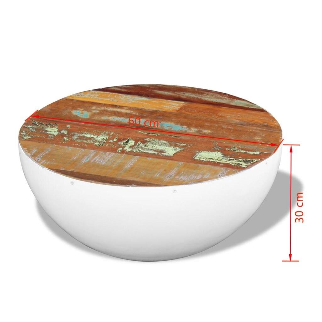 Vidaxl Bowl Shaped Coffee Table Solid Reclaimed Wood 23 6 X23 X11 8