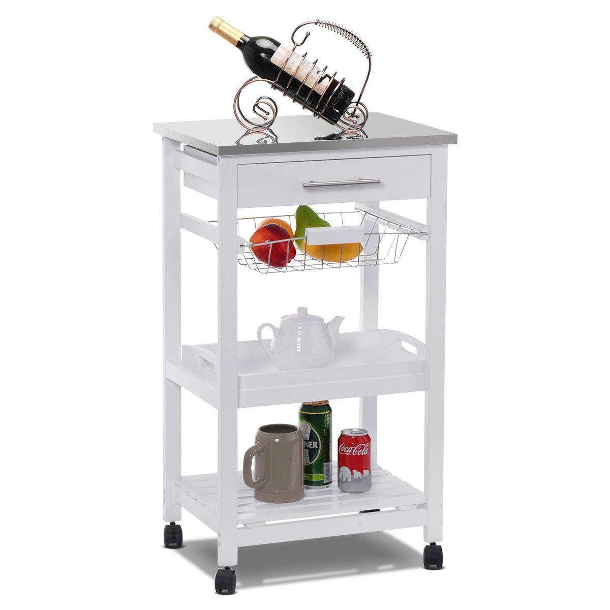 Shop costway rolling kitchen trolley cart steel top removable tray w storage basket drawers free shipping today overstock com 16745915