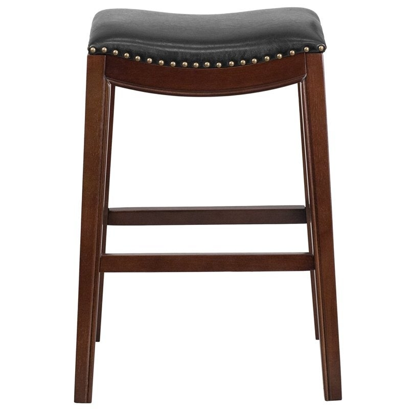 Shop Estella 30 Backless Cappuccino Wood Bar Stool Wblack Leather