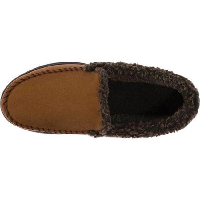 6dbac814a53 Shop Dearfoams Men s MFS Moccasin Slipper with Whipstitch Chestnut - Free  Shipping On Orders Over  45 - Overstock.com - 18123410