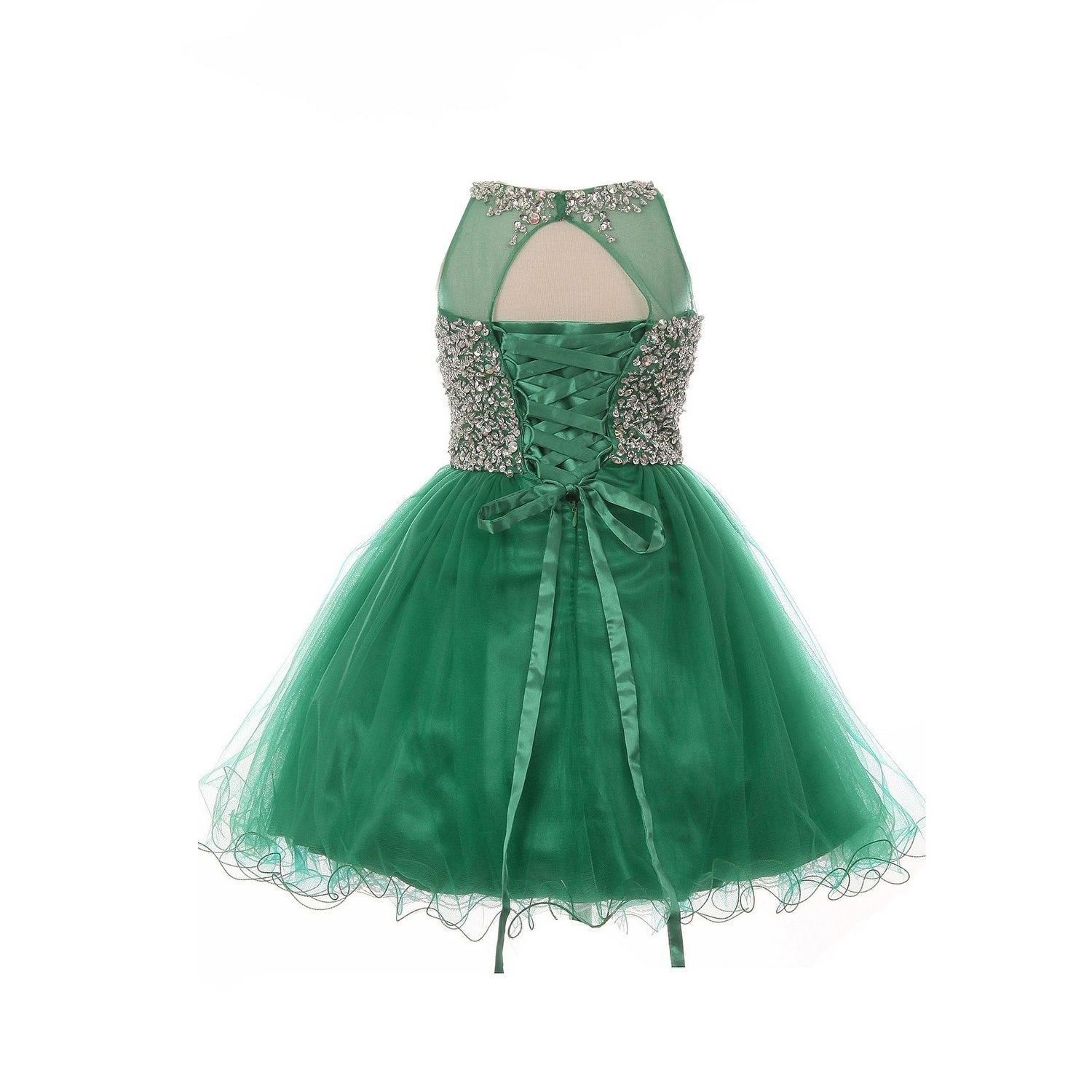 shop big girls emerald green glitter bead wired hem tulle christmas dress free shipping today overstockcom 24122574 - Green Christmas Dress