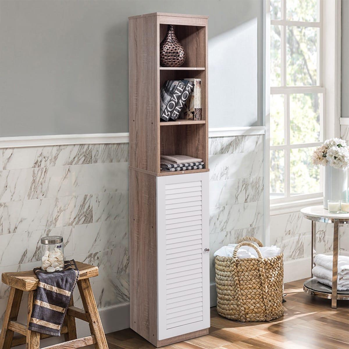 Costway 71\'\' Tall Wood Tower Bathroom Shelf Organizer Storage ...